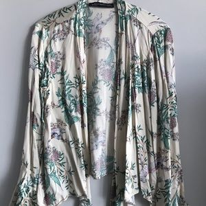 Zara floral silk cover up open blouse cardigan